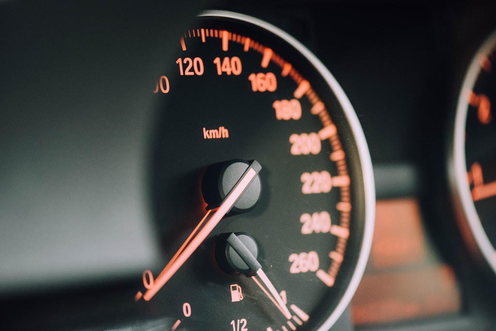 Speedometer in car